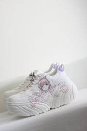 Bershka - Wit lila platform sneakers - 38