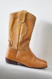 Johan'Co - Oranje lederen cowboy boots - Mt 38 / US 7