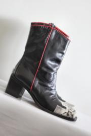 Oxmox - Zwart beige lederen cowboy boots - Mt 36