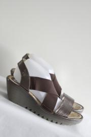 Fly London - Bruin brons metallic lederen sandalen - Mt 41