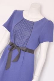 Steps - Blauw pencil dress met kant en strik - Mt 42
