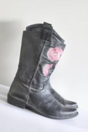 Méliné - Grijs lederen laarzen met roze bloemen - Mt 39