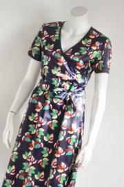 Wow to Go! - Blauw satijnen jurk met print - Mt M 38