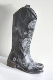 Muratti - Zwart lederen laarzen met geborduurde bloemen - Mt 36