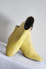 Perlato - Geel lederen enkellaarsjes - Mt 39