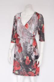 Superstition - Grijs rood gebloemde faux wrap dress - Mt 42