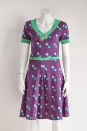 Who's that Girl - Blauwe groene jurk met print - Mt M 38