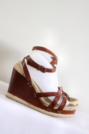 MARC by Marc Jacob - Bruin lederen espadrille sleehak sandalen - Mt 40