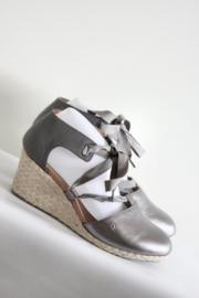 Vionic - Zilver grijs lederen sleehak sandalen - Mt 42