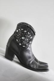 Donna Piu - Zwart lederen boots met stenen - Mt 38