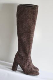 Unisa - Bruin zwart suède laarzen met panter print - Mt 39 & 40