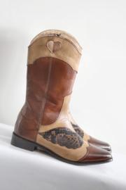 Melvin & Hamilton - Bruin lederen bewerkte cowboy boots - Mt 38