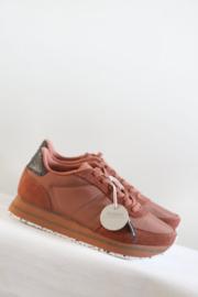 Woden - Bruin suede sneakers met plateau - 41