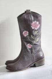 Muratti - Grijs lederen laarzen met geborduurde bloemen - Mt 38