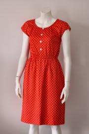 Rood wit vintage polkadot jurk met elastische taille – Mt 36/38