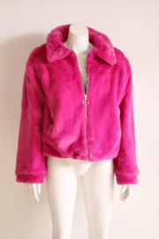Me Jane - Fuchsia roze faux fur jacket - Mt L/XL