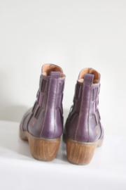 ART - Paars lederen enkellaarsjes met houten hak - Mt 36