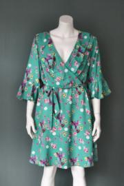 Smashed Lemon - Groen paars gebloemde jurk - Mt XL / 42