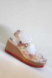 El Naturalista - Roze lederen sleehak sandalen - Mt 41