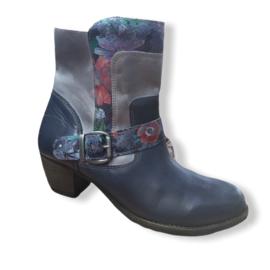 Dessy - Blauw lederen boots met bloemen - Mt 38