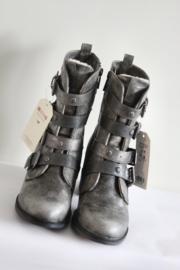 Mustang - Zilver lederen boots met riempjes - Mt 38