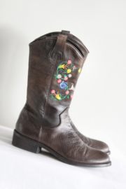 HIP - Bruin lederen boots met borduursel - Mt 37