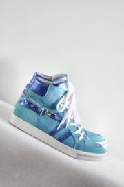 Piedro - Blauw lederen sneakers -Mt 40