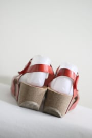 Mia Loé - Rood lederen sleehak sandalen - Mt 40