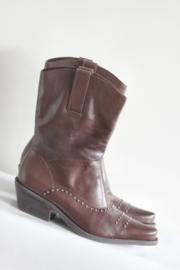 San Marina - Donkerbruin lederen boots met studs - Mt 40