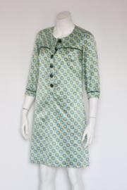 Lucy has a Secret - Geel groene jurk met retro print - Mt M / 38