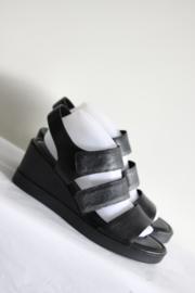 Ecco - Zwart lederen sleehak sandalen - Mt 41