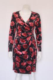 Smashed Lemon - Velvet zwart rode faux wrap dress - Mt M 38