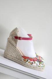 Desigual - Roze espadrille sandalen met print en sleehak - Mt 39