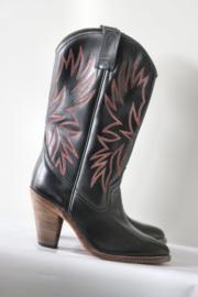 Go West - Hoge zwart rood lederen cowboy boots - Mt 38