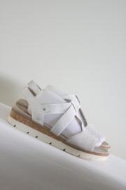 Relife - Wit zilver lederen sandalen met stenen - 43
