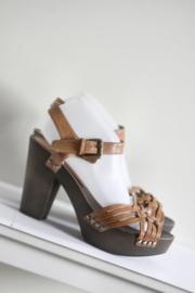 Nieuw! H&M - Bruine platform sandalen - Mt 41