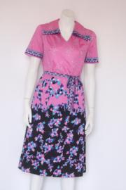 Cop Lady - Roze vintage jurk met bloemenprint - Mt 44