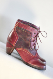 Nina Vita - Roze rood lederen veterlaarsjes - Mt 41