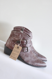 Vintage7 - Donker rood lederen boots met studs - Mt 38