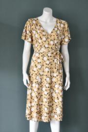 Nicole Miller - Geel jersey gebloemde midi dress - Mt 42