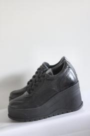 Nieuw! SPM - Zwart lederen plateau sneakers - Mt 38