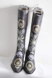 La Bottinière - Donker grijs suède geborduurde laarzen - Mt 39