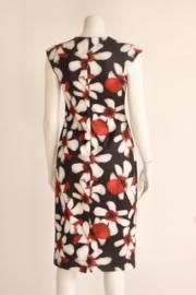 Smashed Lemon - Zwart rood gebloemde pencil dress - Mt 38