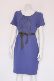 Steps - Blauw pencil dress met kant en strik - Mt 42