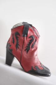 Supertrash - Rood zwart lederen enkellaarsjes - Mt 40