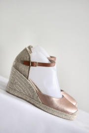Unisa - Roze lederen espadrille sandalen met sleehak - Mt 40
