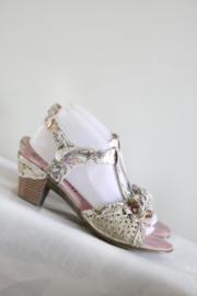 Nina Vita - Beige goud t-strap sandalen - Mt 40