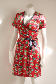 Wow to Go! - Rode jersey jurk met print - Mt XL 42
