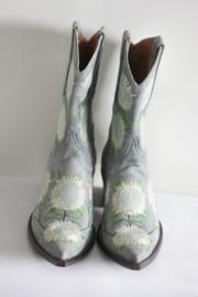 Marlboro Classics - Blauw lederen cowboy boots met zonnebloemen - Mt 39
