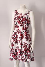Voodoo Vixen - Wit rood gebloemde jurk - Mt S